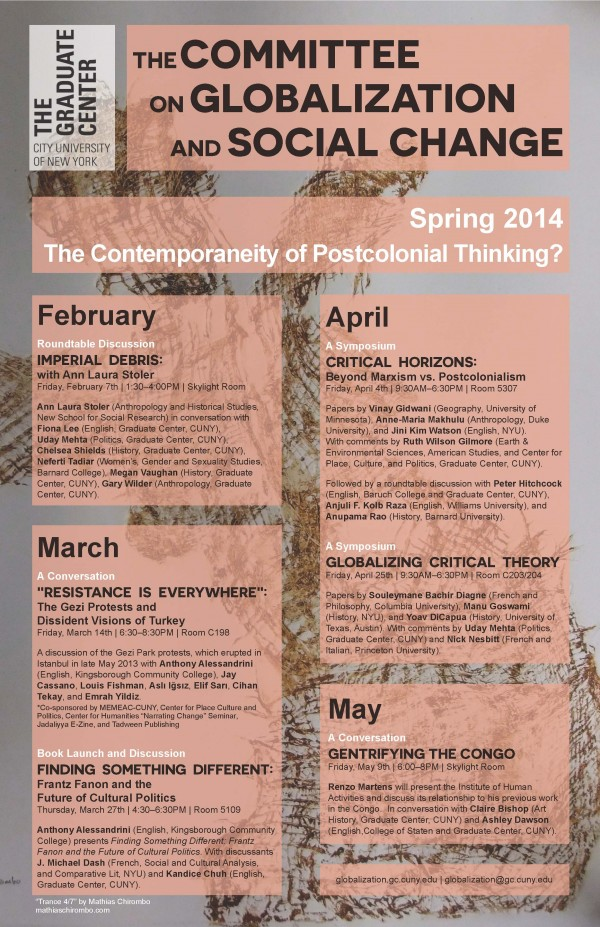 "CGSC Spring Program: ""The Contemporaneity of Postcolonial Thinking?"""